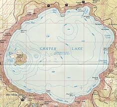 Oregon Topographic Map by Crater Lake