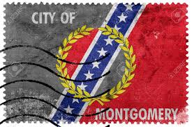 Raleigh Flag Flag Of Montgomery Alabama Old Postage Stamp Stock Photo