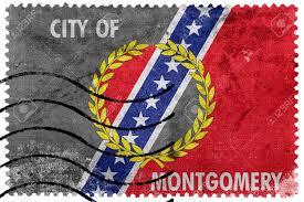 Flag Of Alabama Flag Of Montgomery Alabama Old Postage Stamp Stock Photo