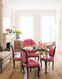 pink dining room chairs pink chairs brown bench fireplace flower vases girlish feminine