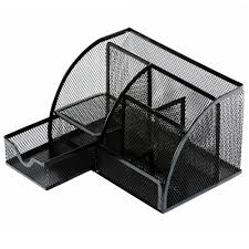 deli desk organizer mesh metal office black