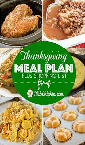 thanksgiving meal plan with shopping list plain chicken