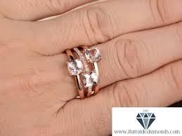 5mm diamond 5mm 3 cushion cut morganite ring stack diamond pave