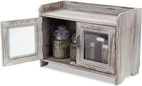 rustic glass kitchen cabinets mygift rustic wood kitchen bathroom countertop cabinet w glass windows