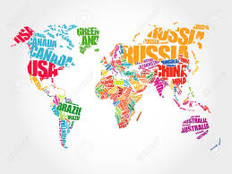 Canada World Map world map in typography word cloud concept names of countries
