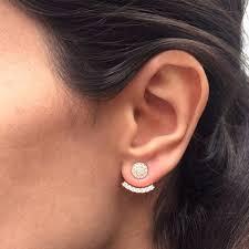 two earrings 2018 rhinestone curved line ear jacket earrings women