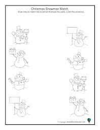 christmas snowman match worksheet christmas activities with diy