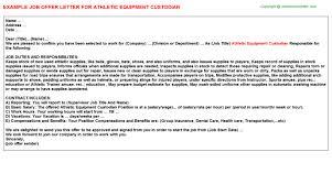 athletic equipment custodian offer letter