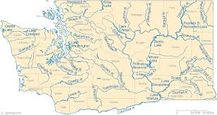map of wa state map of washington lakes streams and rivers