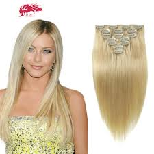Cheap Thick Clip In Hair Extensions by Ali Queen 7pcs Full Shine Clip In Human Hair Extensions Blonde
