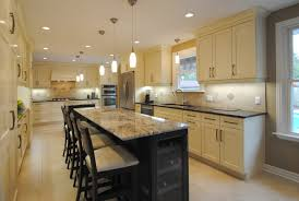 island in small kitchen soapstone countertops kitchen island with wine fridge lighting
