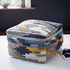 Woven Pouf Ottoman Patchen Ottoman Crossweave Ming Blue Dhurrie Rugs Room And Poufs