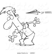 paper airplane coloring page vector of a cartoon man moving to avoid a paper plane coloring