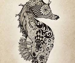 seahorse zentangle tattoo animals and insects