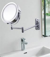 bathroom elegant wall mount lighted makeup mirror with stainless