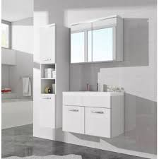Meuble De Rangement Salle Bain Armoire 1 Miroir Meuble De Salle De Bain De Paso 80x40cm Lavabo Blanc Brillant