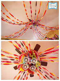 tissue streamers ruffled streamers tissue flowers ceiling décor via wendy
