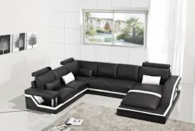 Modern Leather Sofa Modern Black Leather Sectional Sofa