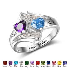 engagement ring engraving promise ring engrave name heart birthstone custom ring 925