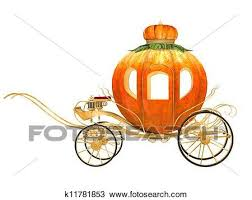 drawing cinderella fairy tale pumpkin carriage isolated