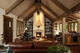 vaulted ceiling beams the gatehouse rustic living room minneapolis by murphy