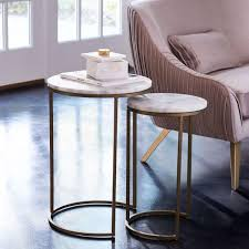 what are nesting tables round nesting side tables set marble antique brass west elm