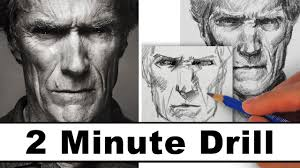 how to draw clint eastwood in 2 minutes youtube