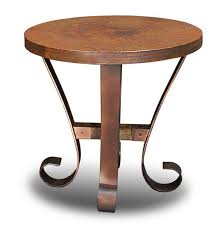 copper top occasional table set hammered copper tables