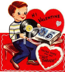retro valentines retro s day card with a boy records royalty