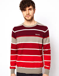 bench striped jumper in red for men lyst