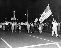 Standing Flag Banners Ilgwu Members Parade With Their Children Holding An Americ U2026 Flickr