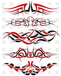 patterns of black and red tribal tattoo design royalty free vector