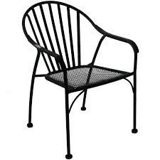 Black Patio Chair Black Wrought Iron Slat Patio Chair At Home At Home