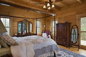 Log Home Bedrooms Captivating Log Home Bedroom Colors Using Rustic Wood Wall Planks