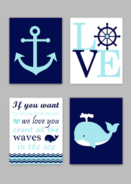 nautical footprint anchor canvas art with print kit personalized