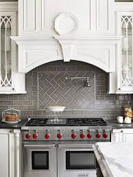Kitchen With Subway Tile Backsplash Grey Herringbone Subway Tile Backsplash Works With The Stainless
