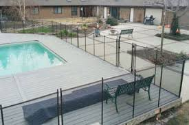wood deck pool fencing child safe temporary removable mesh pool