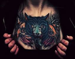 colored wolf on chest