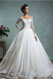 the shoulder wedding dress gown the shoulder tulle lace wedding dress with sleeves