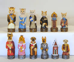 cats dogs chess pieces hand painted