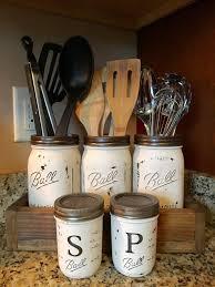 kitchen utensil canister utensil jar holder with salt and pepper by dandecustom