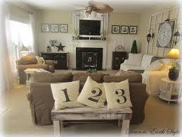 country style living room with earth tone color paint wall and