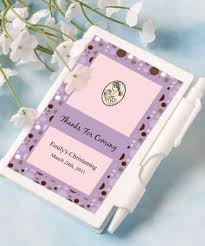 christening party favors personalized christening notebook favors baby shower party favors