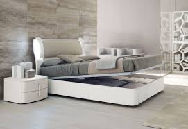 Furniture In Bedroom Modern Bedroom With White Reclinig Bed Furnished With Gray Cover