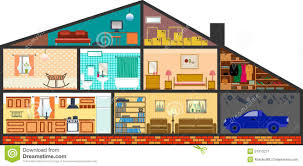 100 rooms in a house house in cut detailed flat style