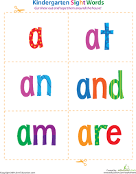 kindergarten sight words a to are worksheet education com