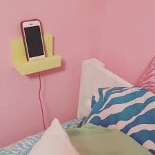Charging Shelf Station by Bedside Phone Stand Phone Holder Wood Phone Display Charging
