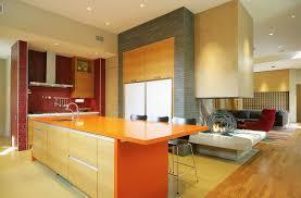 appliances semi floating orange kitchen island with red stone