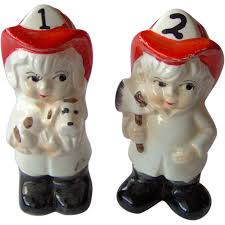 cute salt and pepper shakers vintage boy and firefighter salt and pepper shakers from