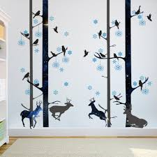 blue snowflakes black tree trunk wall stickers david s deer wall blue snowflakes black tree trunk wall stickers david s deer wall mural poster art living room background graphic wall tattoo home decoration blue snowflakes